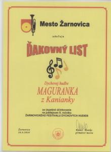 Ďakovný list Žarnovica