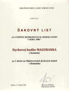 Ďakovný list Maguranka 2008