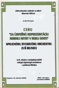 Ďakovný list ZMOS 2006