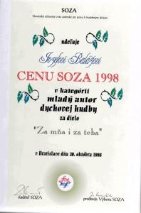 """Cena SOZA v kategórií mladý autor za dielo """"Za mňa i za teba"""""""