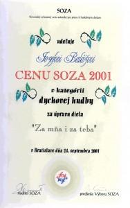 """Cena SOZA v kategórií dychovej hudby za úpravu diela """"Za mňa i za teba"""""""