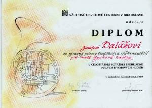 Diplom Národného osvetového centra za prínos v kompozícií a inštrumentacií