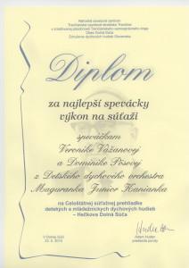 Dolná Súča Diplom za najlepší spev. výkon 23.5.2010