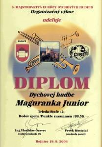 Diplom z Majstrovstiev Európy Maguranka Junior