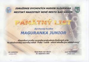 Pamätný list Maguranka Junior