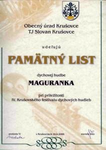 Pamätný list Krušovce 2006