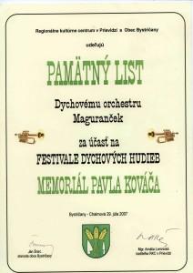Pamätný list Maguranček 2007