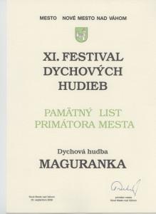 Pamätný list Nové Mesto nad Váhom 2008
