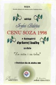 """Cena SOZA v kategórií dychovej hudby za dielo """"Za mňa i za teba"""""""