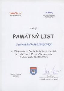 Trenčín Pamätný list 22.7.2007
