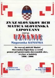 Uznanie Chornátsko Lipovljany 2006